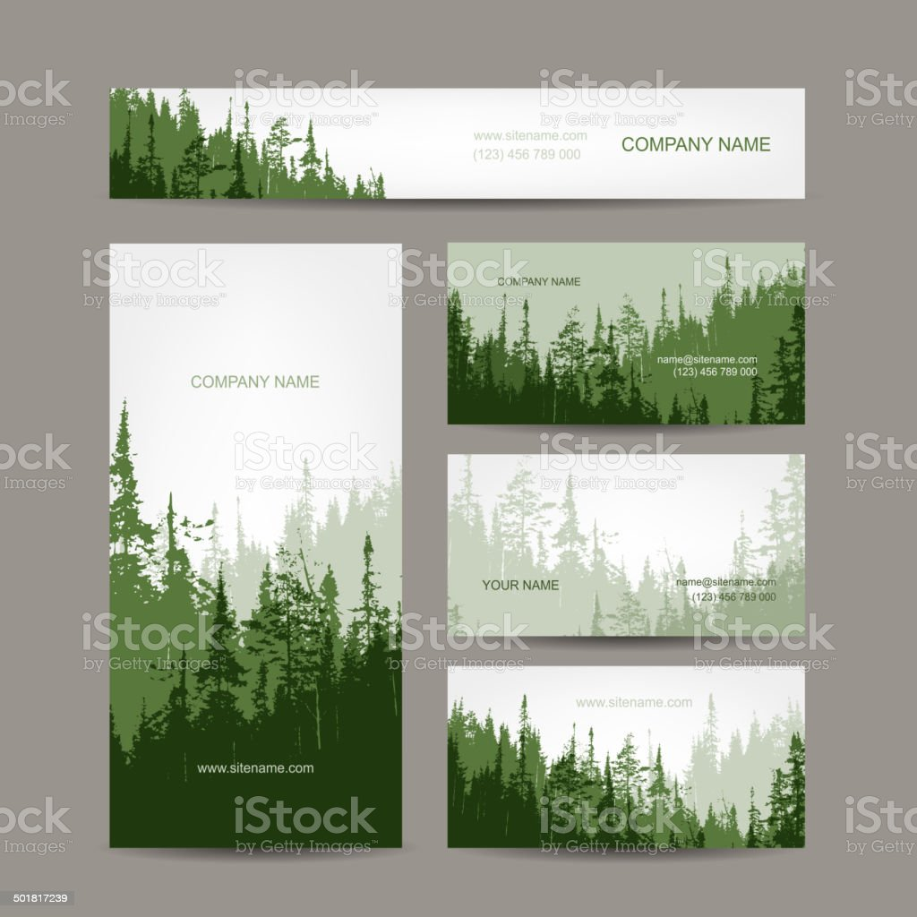 Business cards design with green forest background vector art illustration