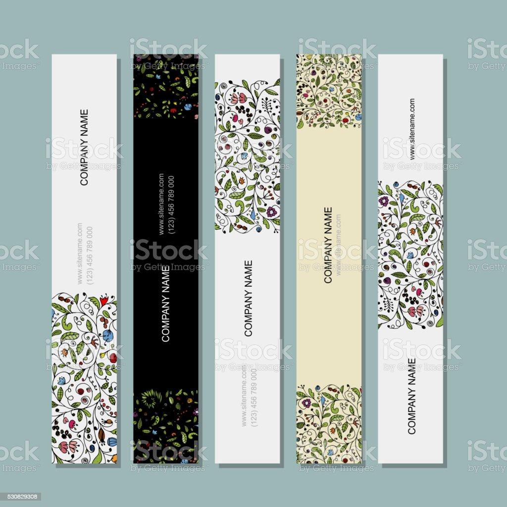 Business cards, floral banners design vector art illustration