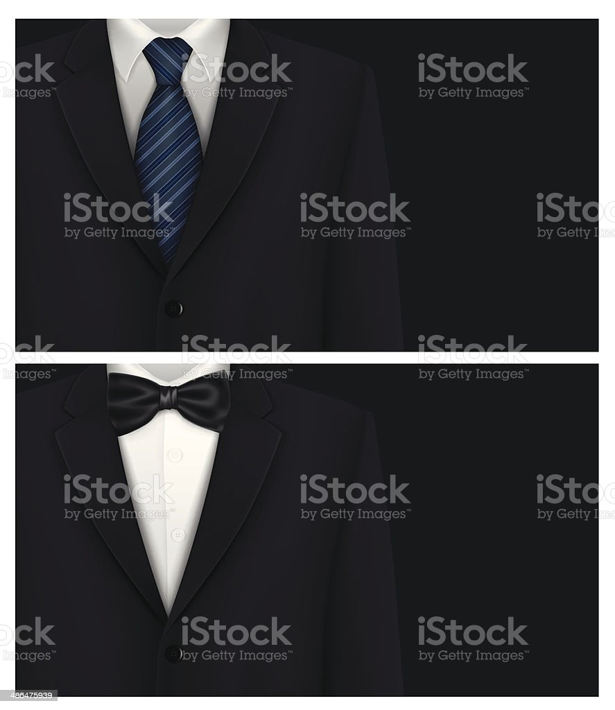 Business cards template with tuxedo design vector art illustration