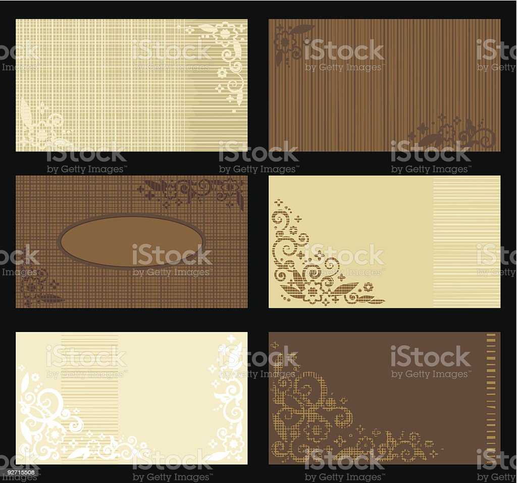 Business cards templates, tan and brown royalty-free stock vector art