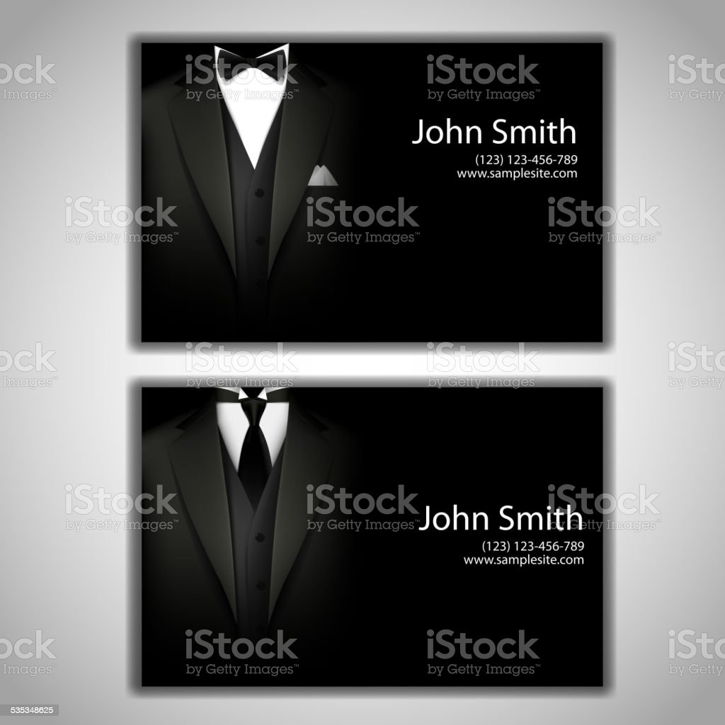 Business cards with elegant suit and tuxedo. vector art illustration