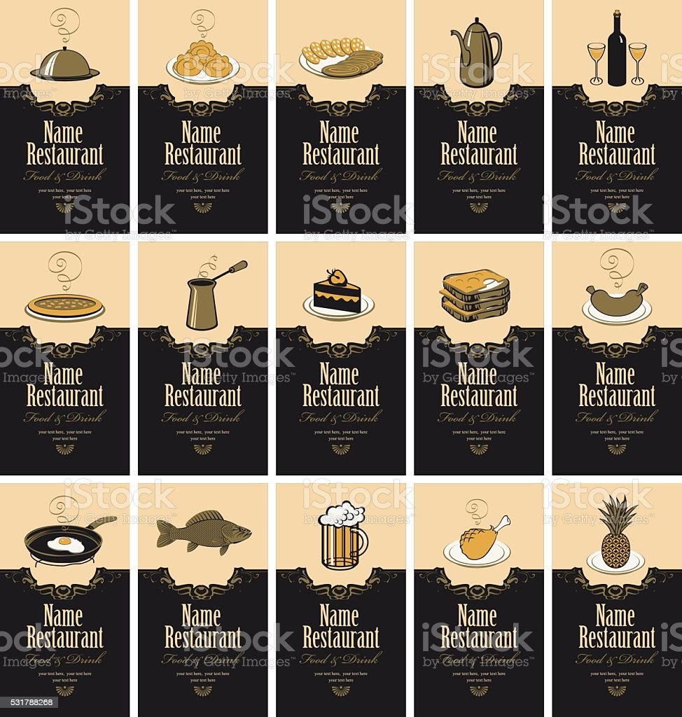 business cards with food and drinks vector art illustration