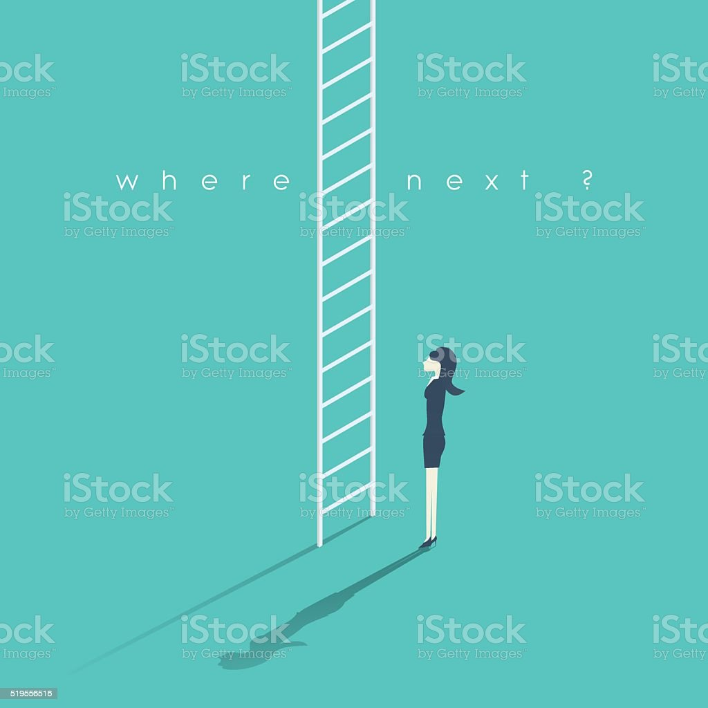 Business career concept with businesswoman and corporate ladder. Work promotion vector art illustration