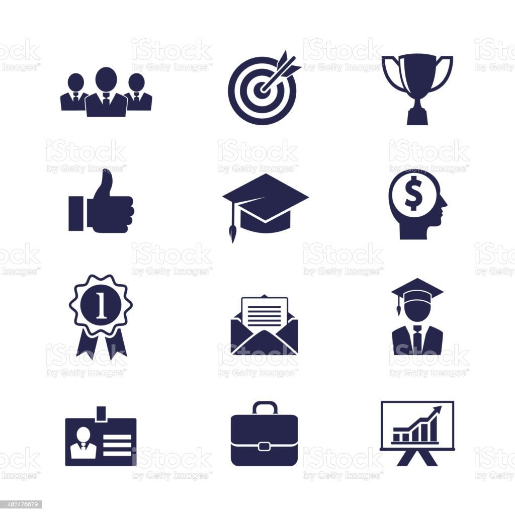 Business career icons vector art illustration