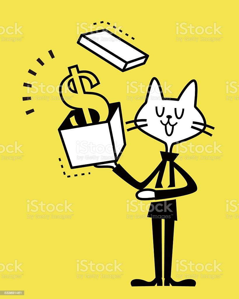 Business Cat showing a gift box with money vector art illustration