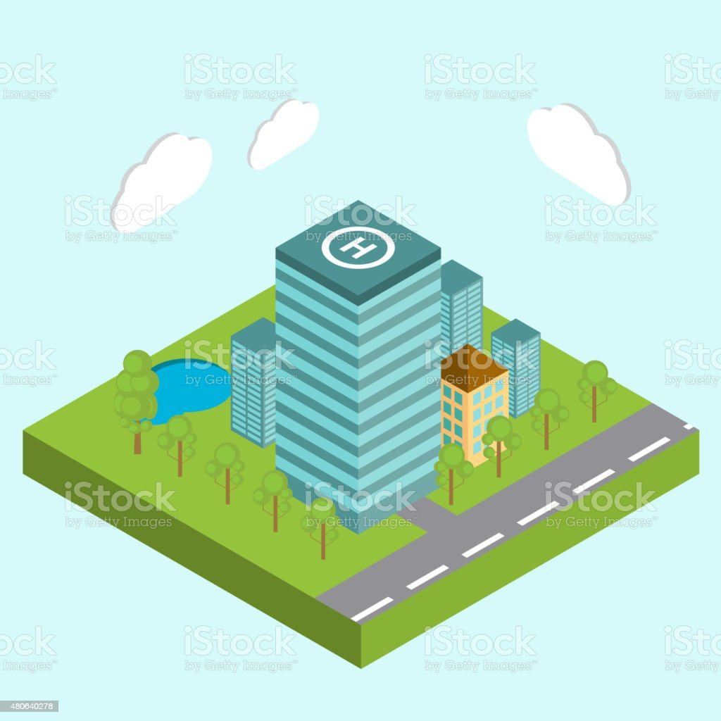 Business center city area buildings isometric concept abstract v vector art illustration