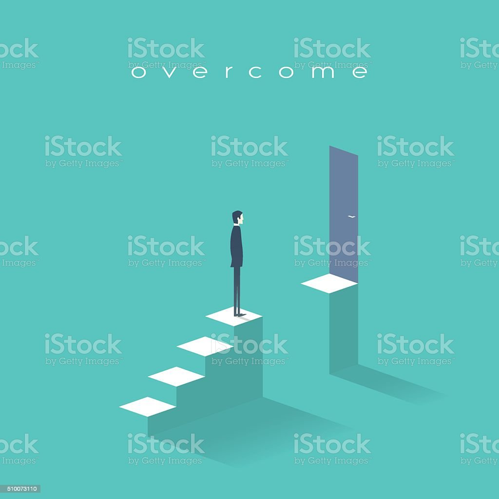 Business challenge concept with man standing on stairs. Goal or vector art illustration