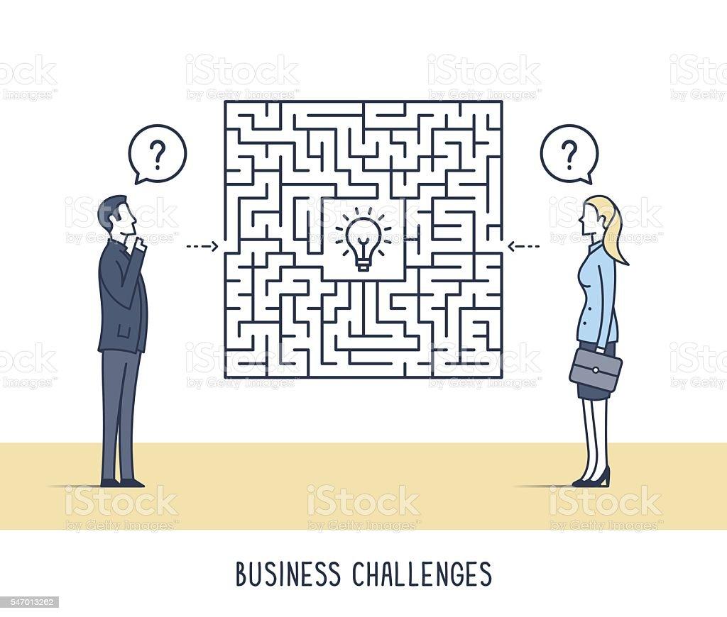 Business Challenges vector art illustration