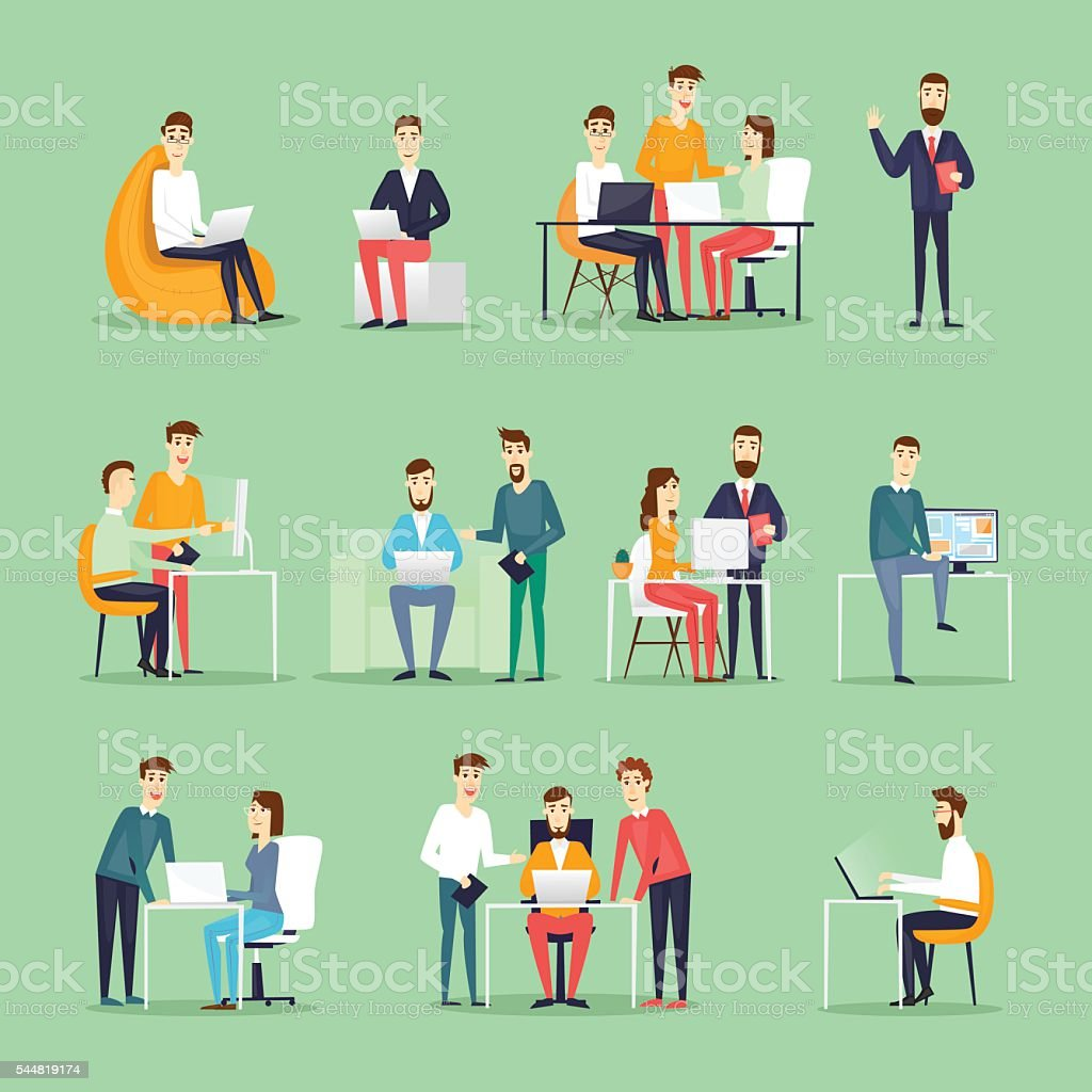 Business characters. Co working people, meeting, teamwork, collaboration and discussion vector art illustration