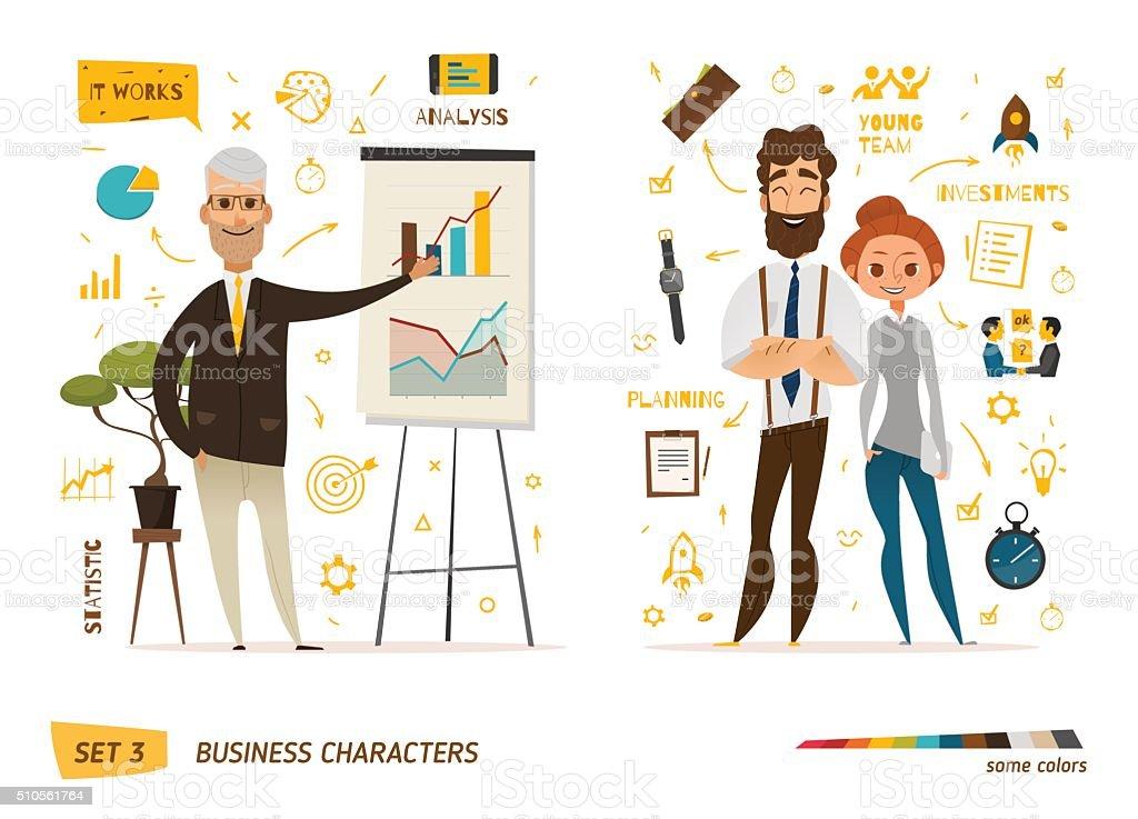 Business characters scene vector art illustration