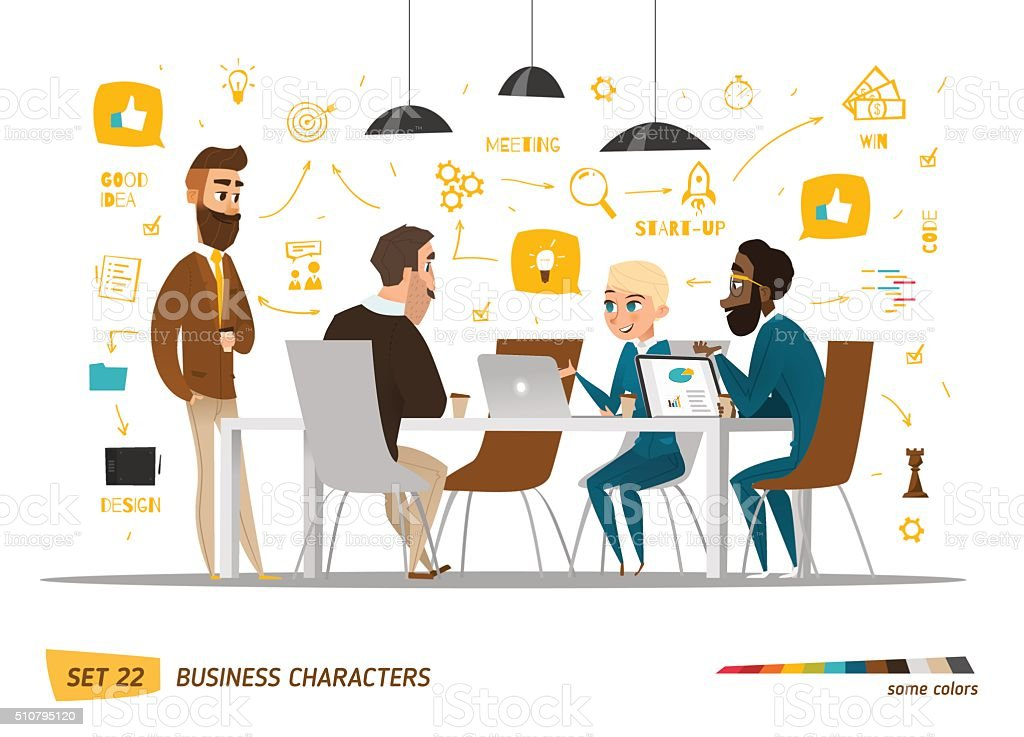 Business characters scene vector art illustration