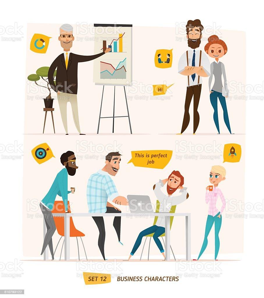 Business characters scenes vector art illustration