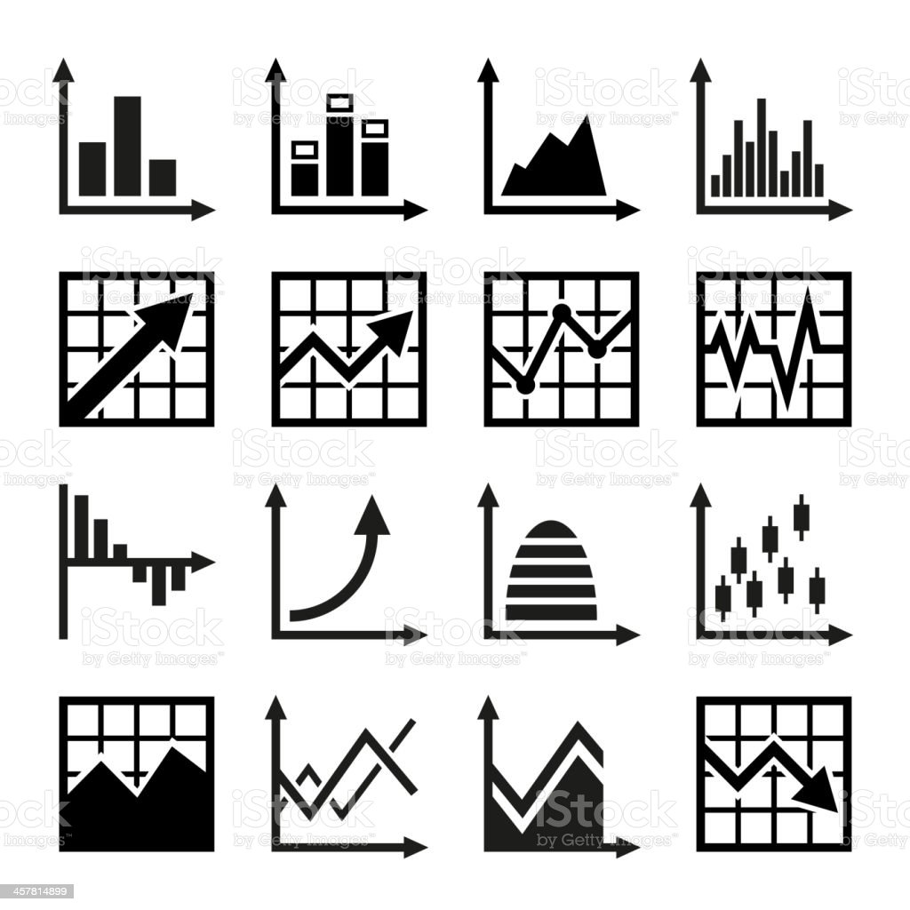 Business chart and graphics icons set royalty-free stock vector art