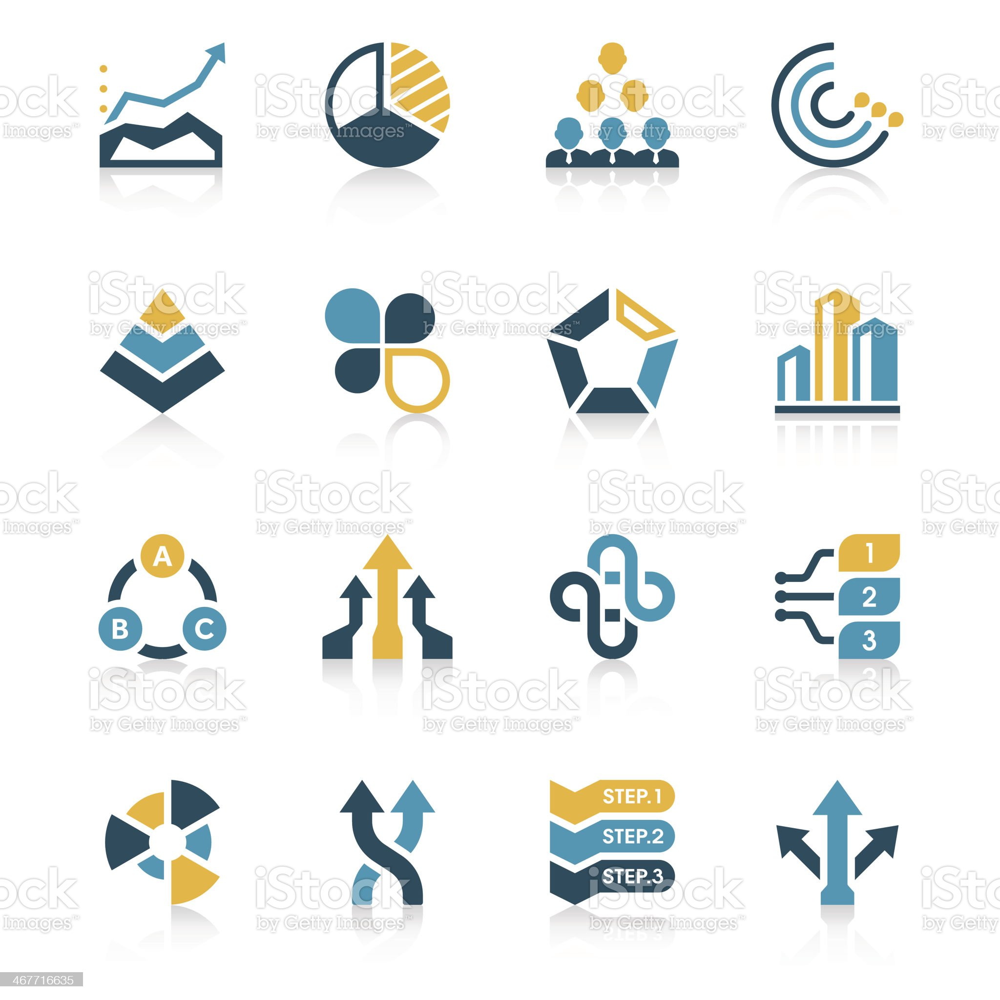 Business Chart Icon Set | Vivid Series royalty-free stock vector art