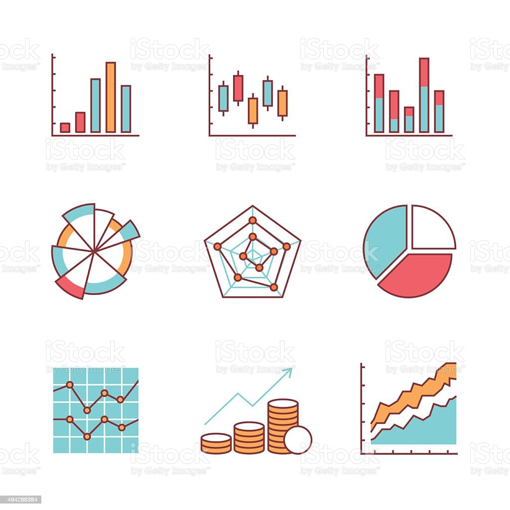 Business charts and data icons thin line set vector art illustration