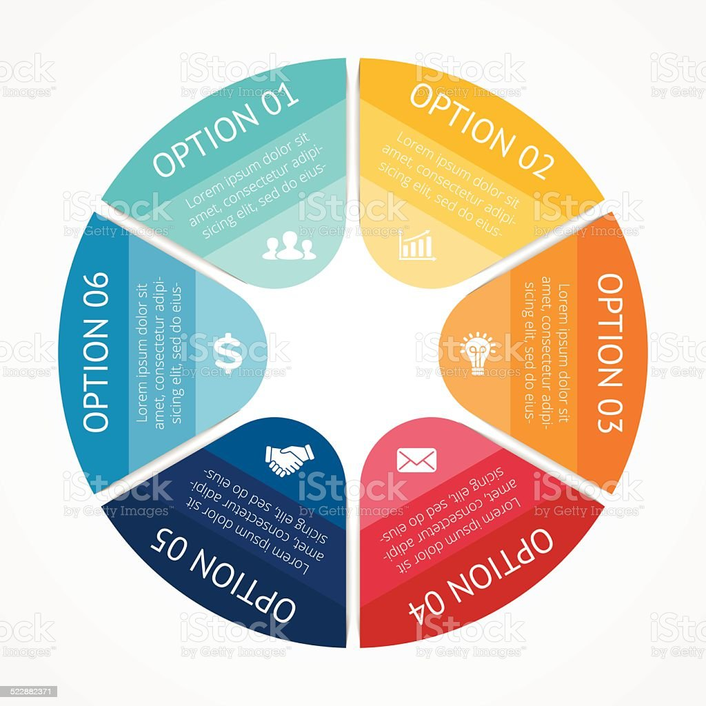 Business circle infographic, diagram 6 options vector art illustration