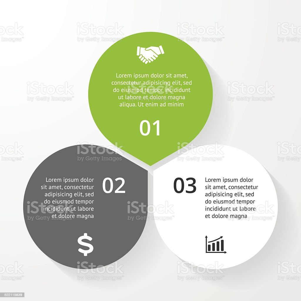 Business circle infographic, diagram, presentation 3 steps vector art illustration