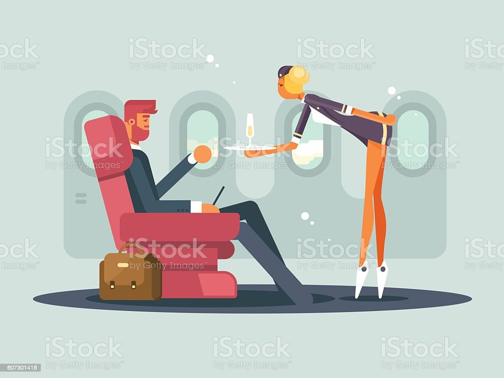 Business class on plane vector art illustration