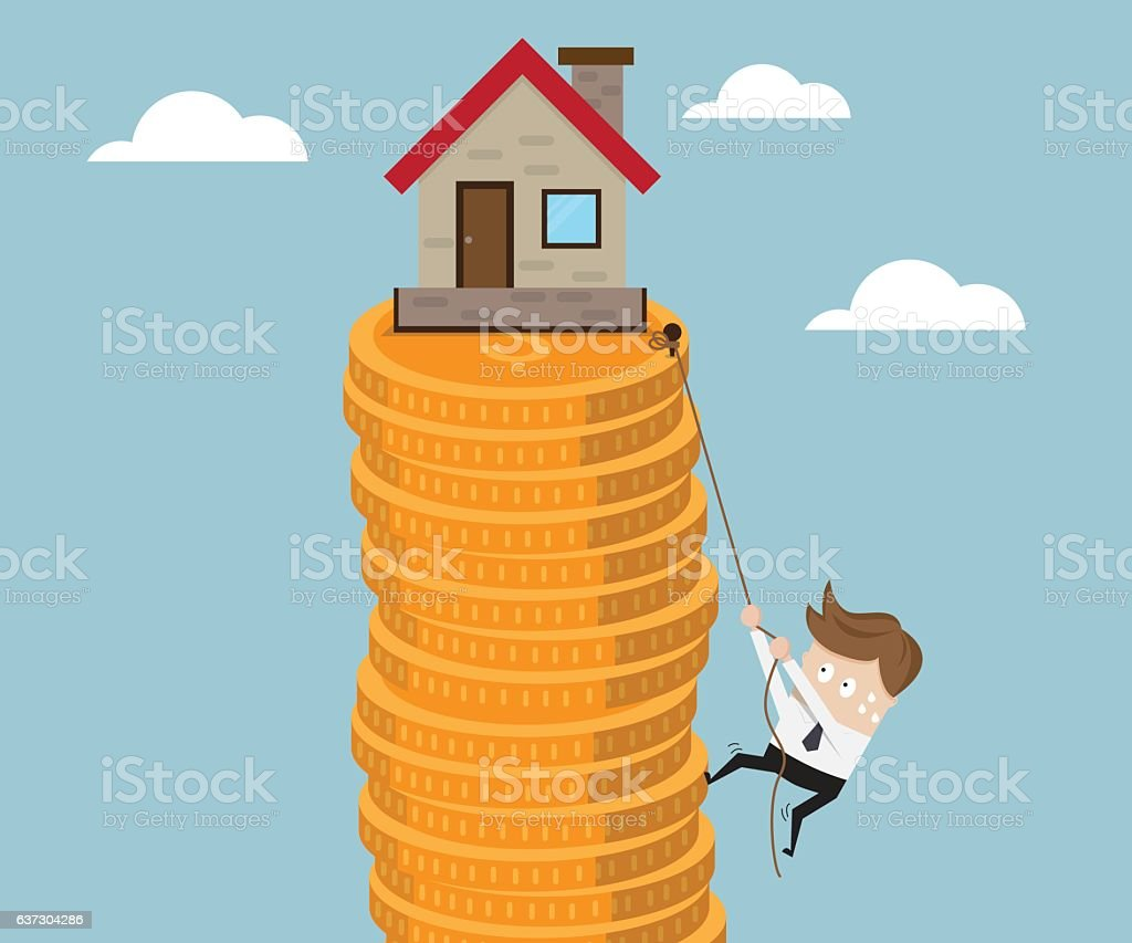 Business Climb Stack of Gold Coin with Robe vector art illustration