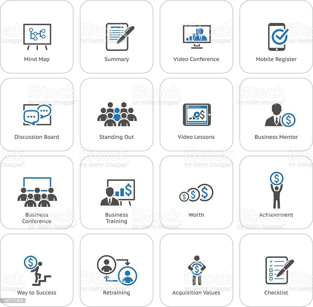 Business Coaching Icon Set. Online Learning. Flat Design. vector art illustration
