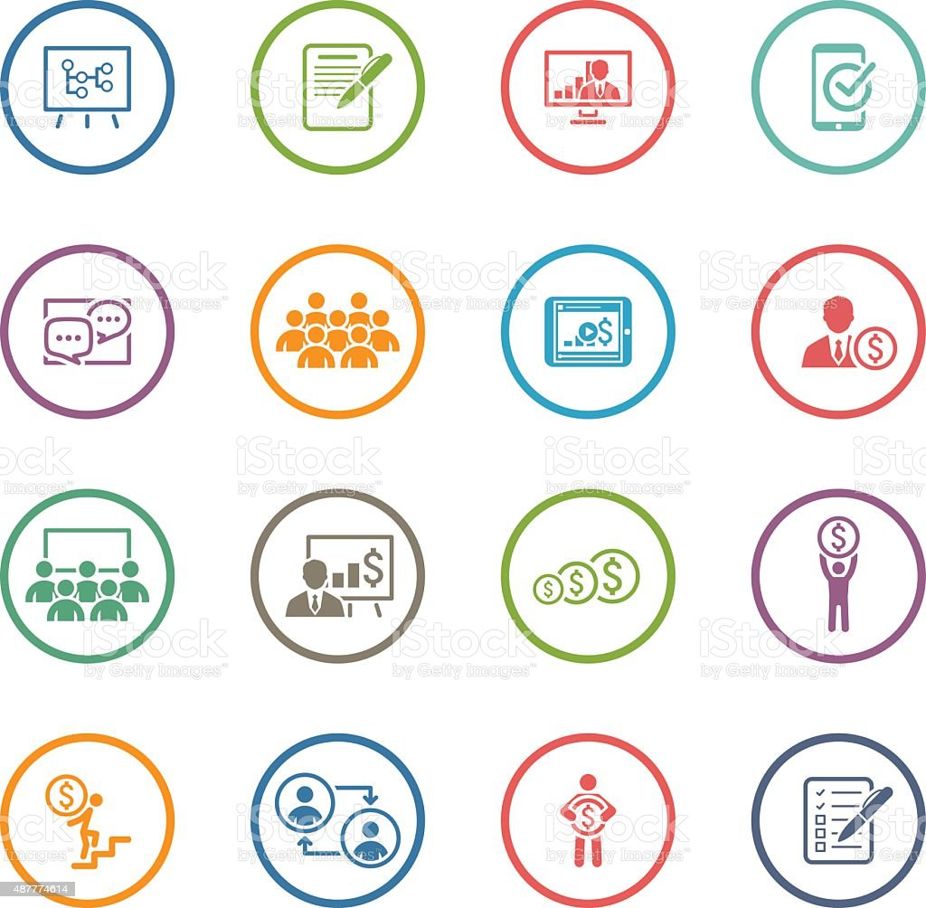 Business Coaching Icon Set. Online Learning. Flat Design. vector art illustration