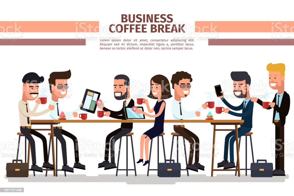 Business coffee break vector art illustration