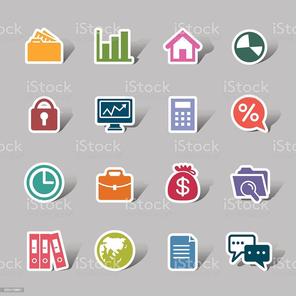 Business Color Icon Label vector art illustration
