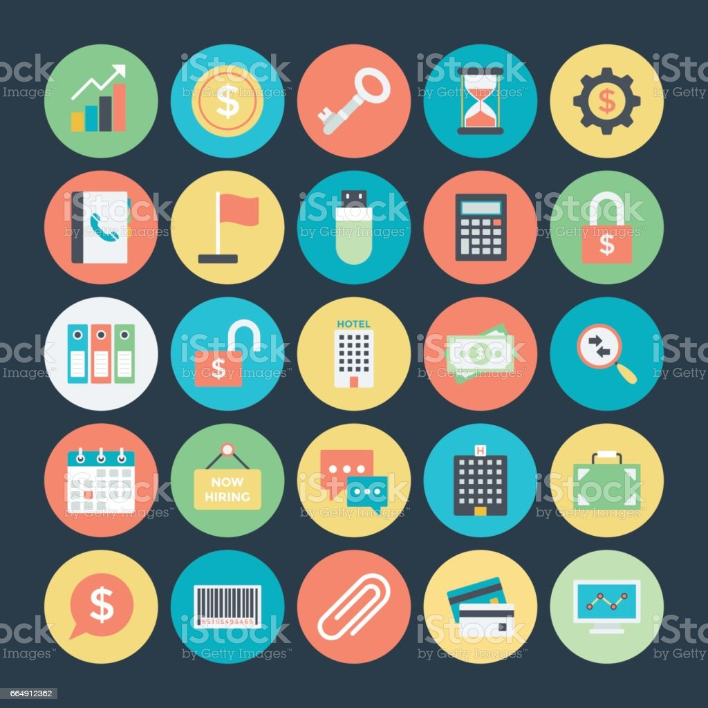 Business Colored Vector Icons 1 vector art illustration