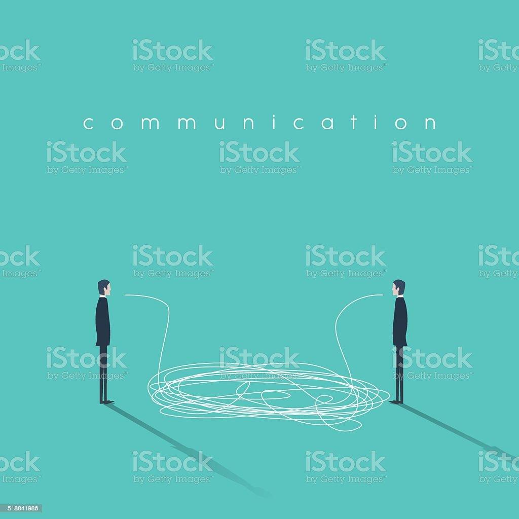 Business communication concept illustration with tangled lines. Businessmen having conversation vector art illustration