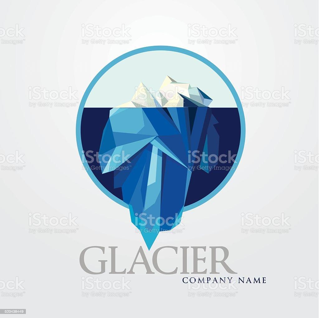business company logo illustration-blue iceberg vector art illustration