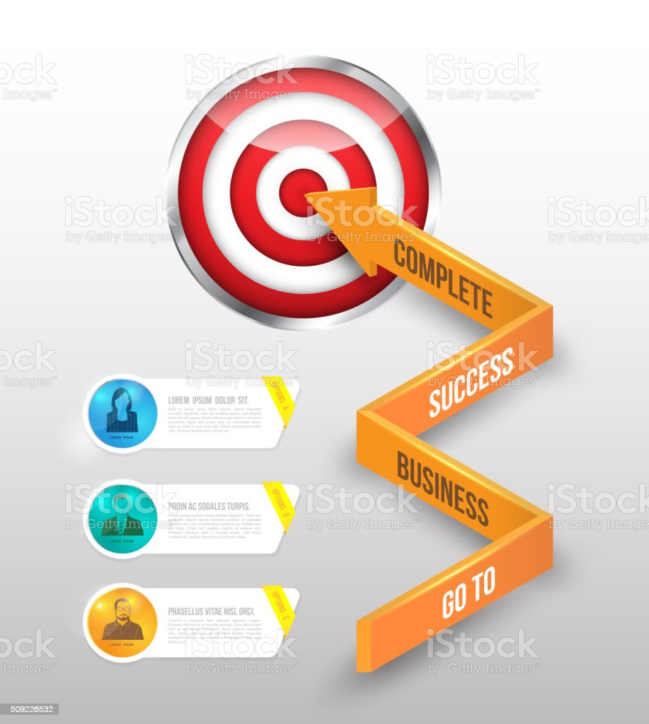 Business concept arrow go to target and business people banner. vector art illustration