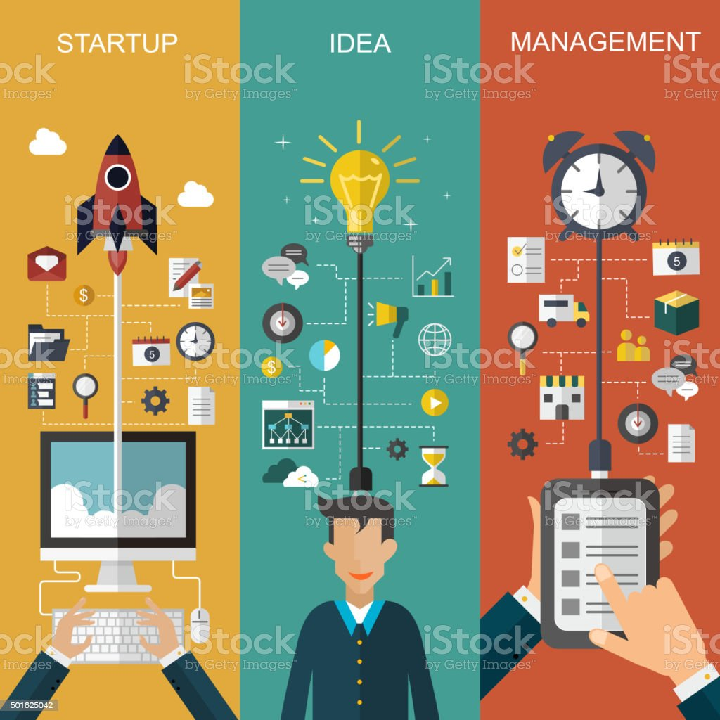 business concept banner set vector art illustration
