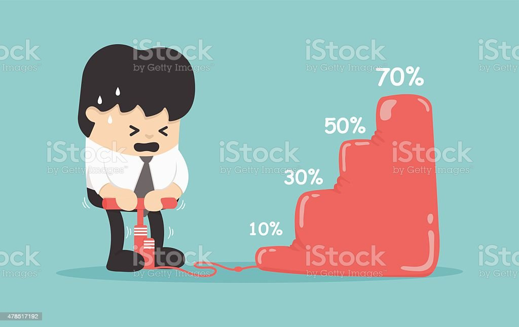 Business concept boost the share of difficulties vector art illustration