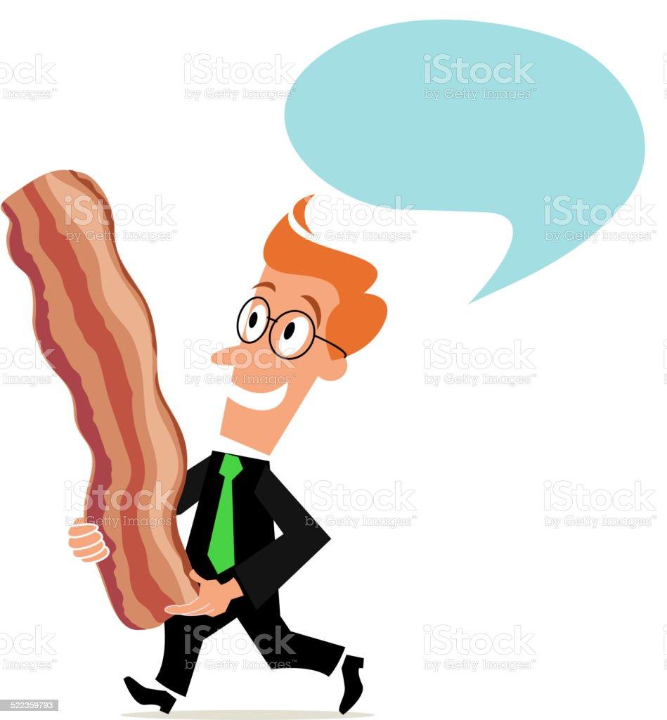 Business Concept- Bringing Home Bacon vector art illustration