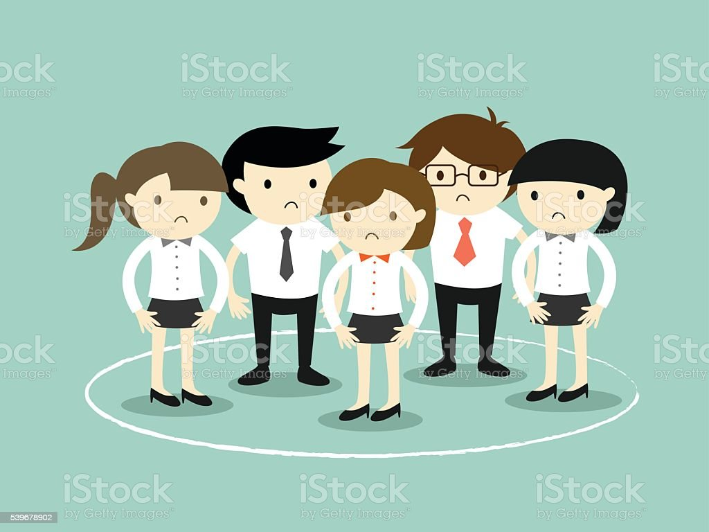 Business concept, business people are stuck in the circle. vector art illustration