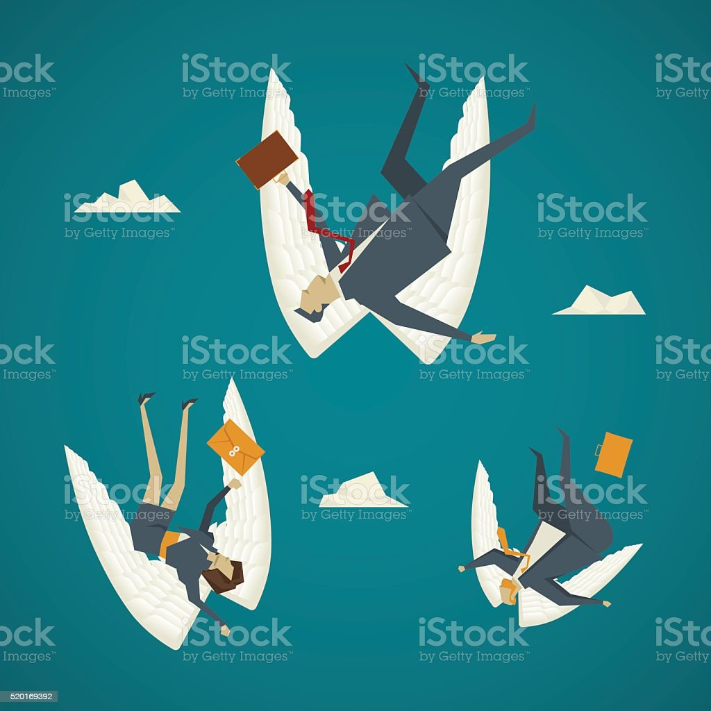 Business concept. Business people wings are falling from the sky. vector art illustration