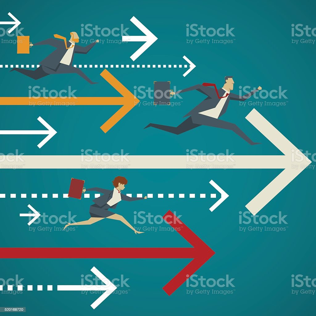 Business concept. Business people with briefcase running well ahead with arrows. vector art illustration