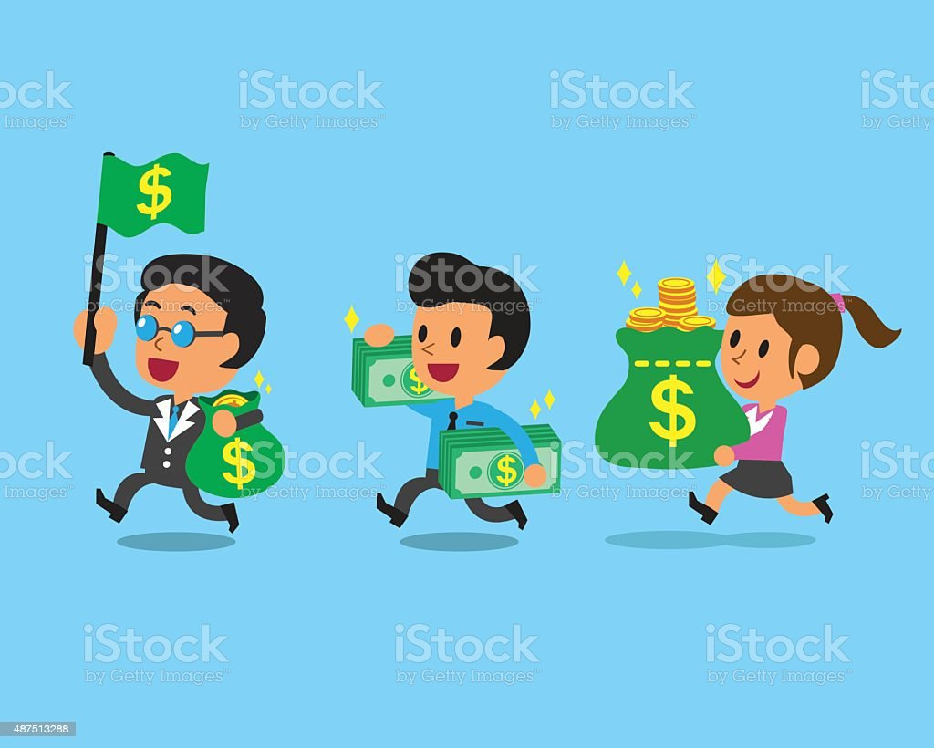 Business concept business team and money vector art illustration