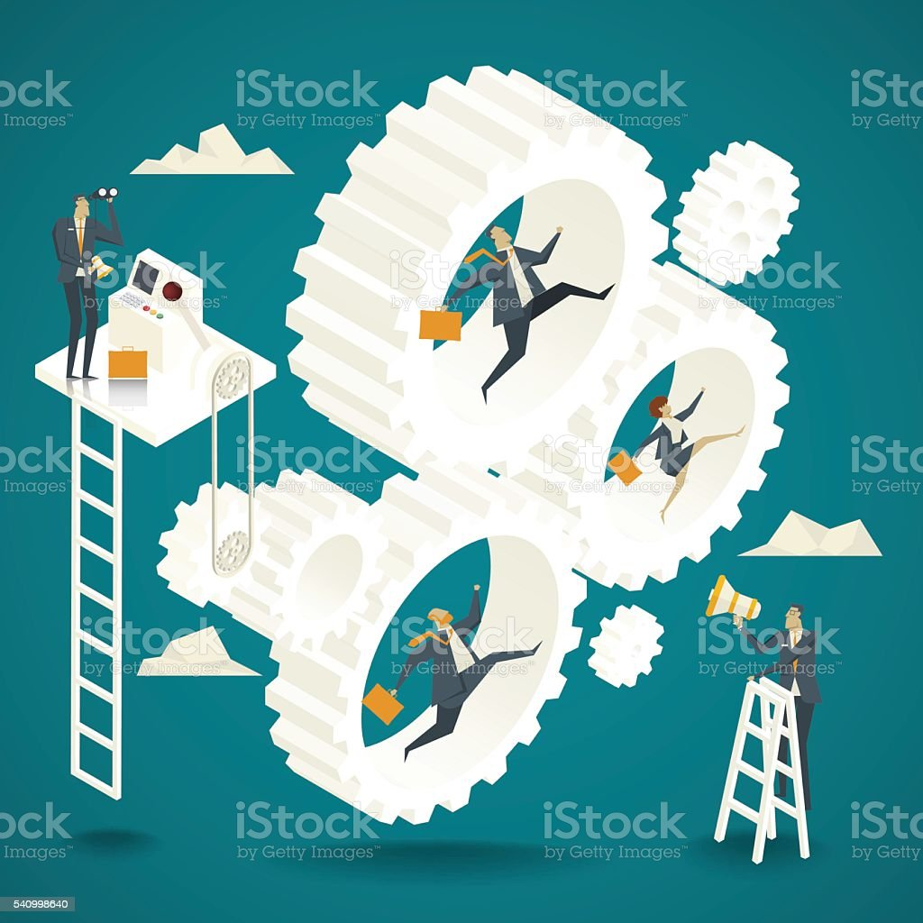 Business concept. Business team jumping backlash Controlled by senior government ministry vector art illustration