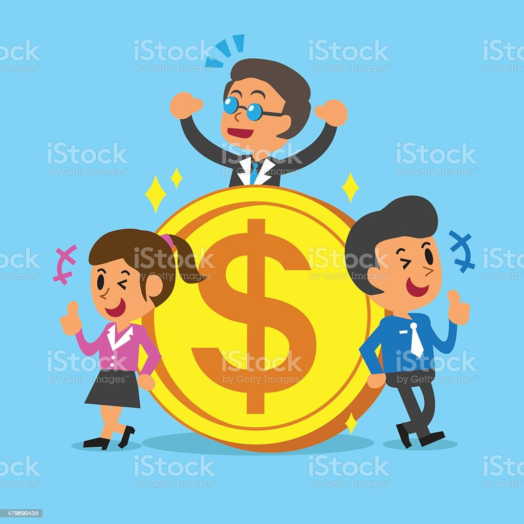 Business concept business team with a big coin vector art illustration