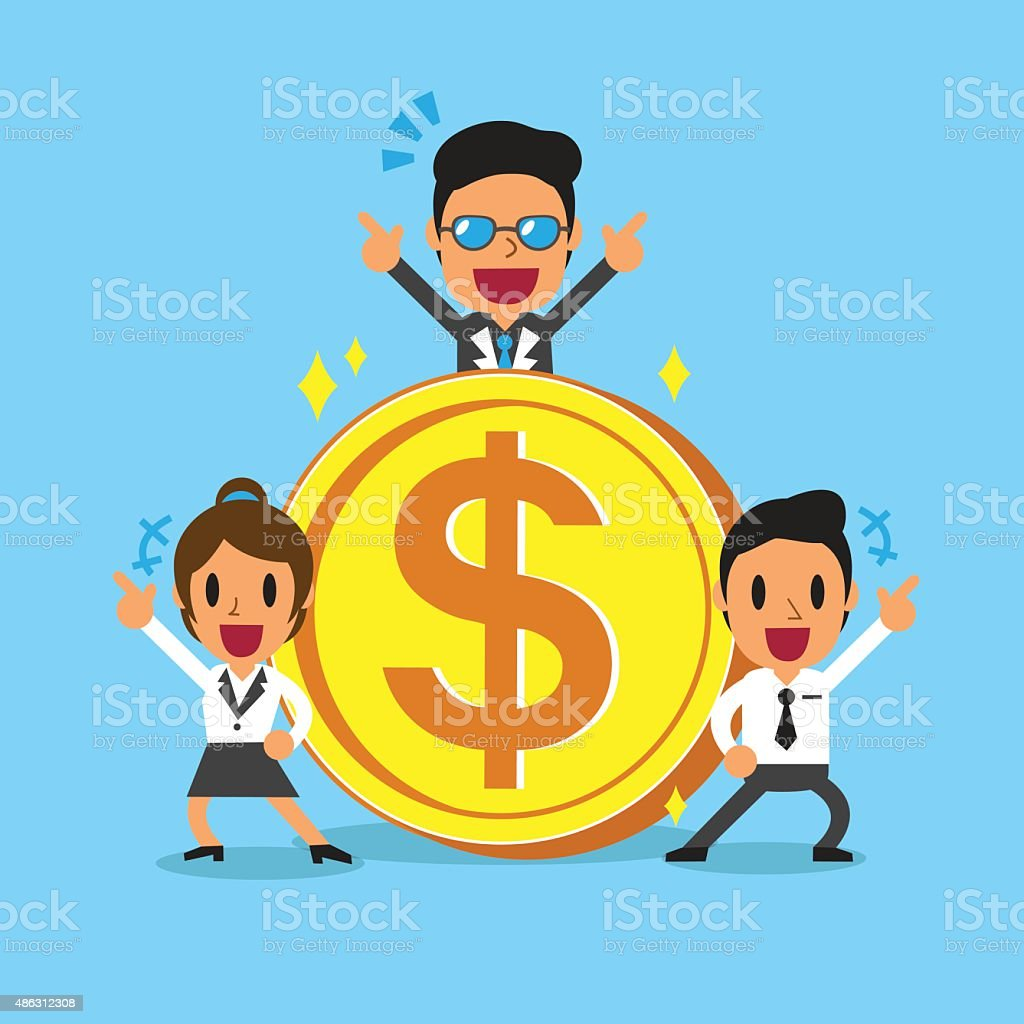 Business concept business team with big coin vector art illustration