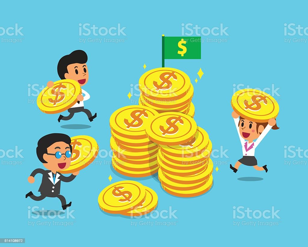 Business concept business team with big coins vector art illustration