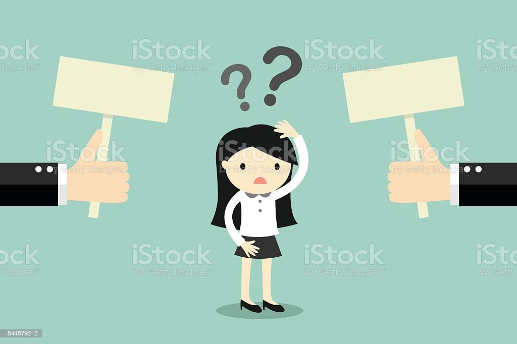 Business concept, Business woman confused about two choices. vector art illustration