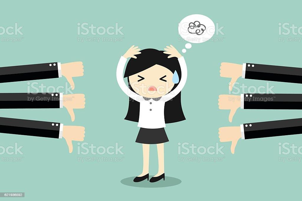 Business concept, business woman get bad feedback. vector art illustration