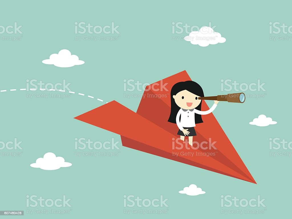 Business concept, Business woman is flying while using telescope. vector art illustration