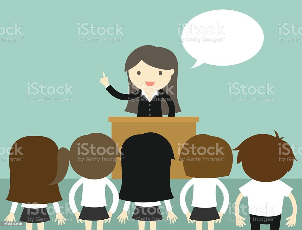 Business concept, Business woman talking on the podium. vector art illustration