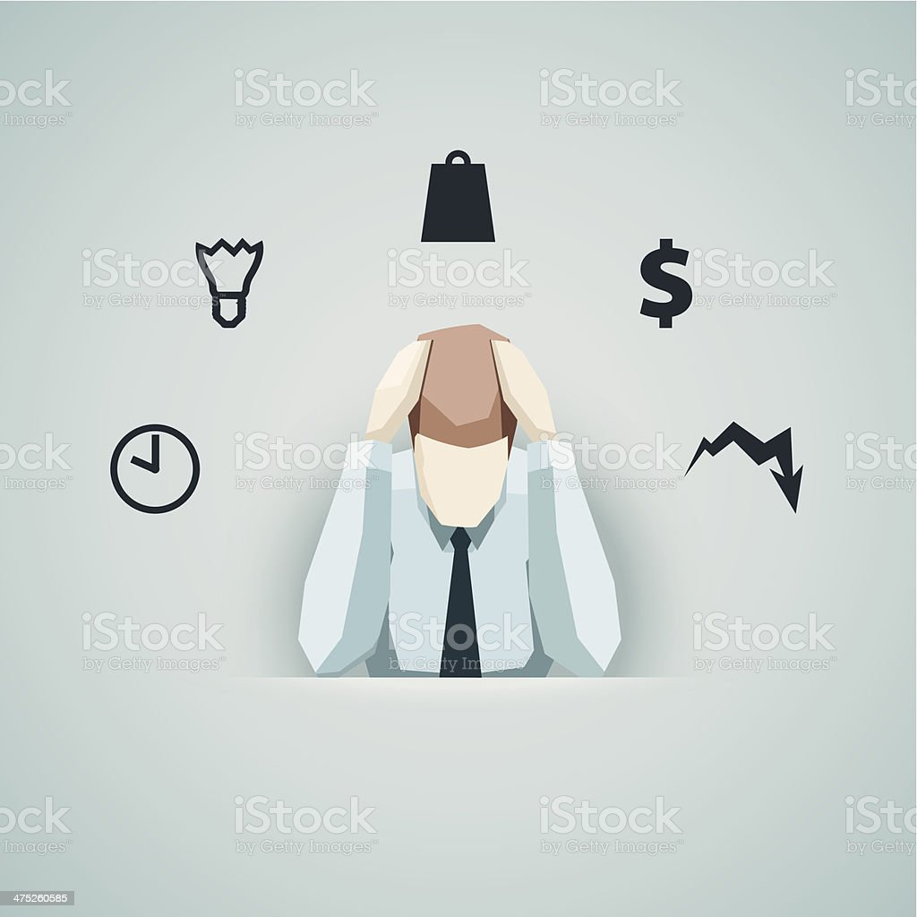 Business concept - Businessman in stress vector vector art illustration