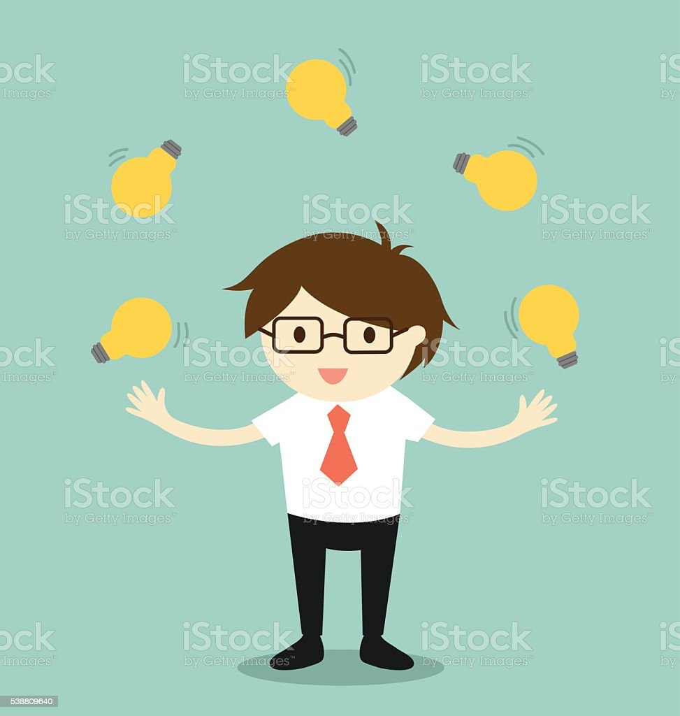 Business concept, businessman juggling many light bulbs. vector art illustration