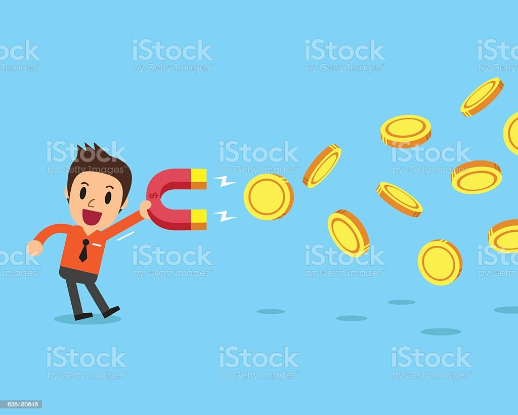Business concept businessman using a magnet to attracts money vector art illustration