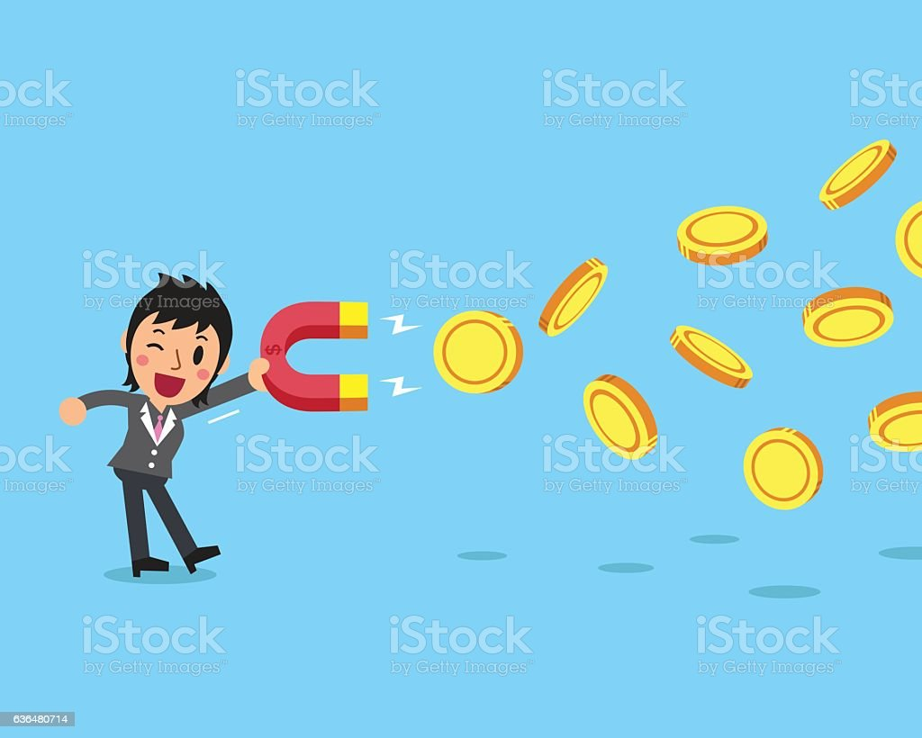 Business concept businesswoman using a magnet to attracts money vector art illustration